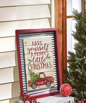 OUCHAN Christmas Galvanized Corrugated Distressed Frame Red Truck Wall Art Sign Plaque 0 2 300x360