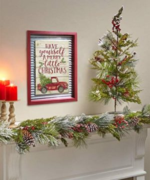 OUCHAN Christmas Galvanized Corrugated Distressed Frame Red Truck Wall Art Sign Plaque 0 3 300x360