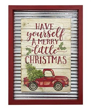 OUCHAN Christmas Galvanized Corrugated Distressed Frame Red Truck Wall Art Sign Plaque 0 300x360