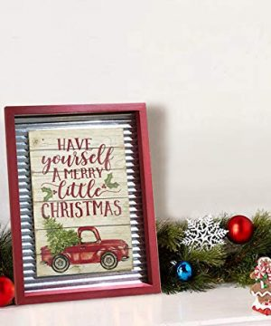 OUCHAN Christmas Galvanized Corrugated Distressed Frame Red Truck Wall Art Sign Plaque 0 4 300x360