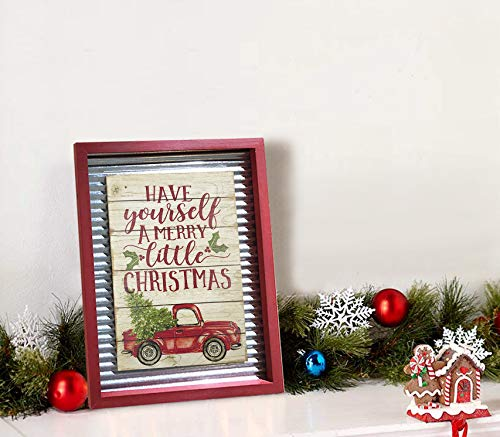 OUCHAN Christmas Galvanized Corrugated Distressed Frame Red Truck Wall Art Sign Plaque 0 4