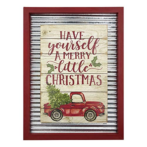 OUCHAN Christmas Galvanized Corrugated Distressed Frame Red Truck Wall Art Sign Plaque 0