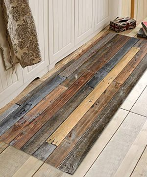 Old Wooden Board Print Memory Foam Bath Rugs And Doormats Non Slip Absorbent Super Cozy Flannel Bathroom Rug Carpet 71 X 24 Inches 0 300x360