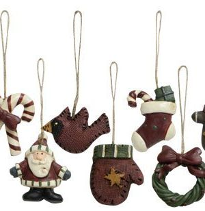 Old World Mini Christmas Ornaments 9 Piece Set Vintage Style Country Primitive Christmas Holiday Dcor 0 300x308