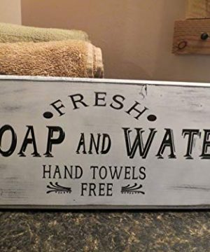 Olga212Patrick Large Fresh Soap And Water Bathroom Wood Plaque Sign Farmhouse Bathroom Decor Home Decor Wall Hanging Farmhouse Wall Decor Distressed 0 300x360