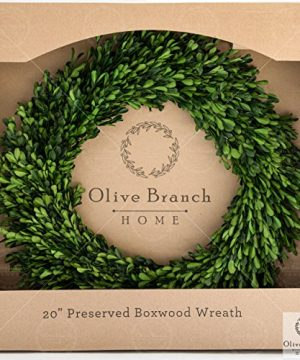Olive Branch Home Preserved Boxwood Wreath With Straw Back Large Indoor Year Round Green Wreath 20 Inch Round 0 300x360