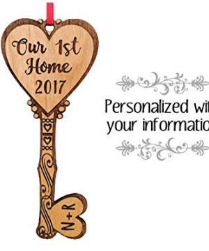 Our First Home KEY To Couples Heart Personalized Wood Ornament Housewarming Home Decor Ornament Custom New Home Newlyweds Newly Married Engaged Christmas Gift From Realtor 0 300x360