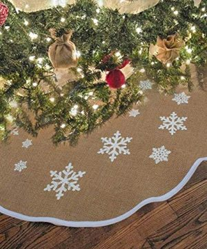 OurWarm Christmas Tree Skirt 30 Inch Burlap Tree Skirt White Snowflake Printed Christmas Decorations New Year Party Supply 0 300x360