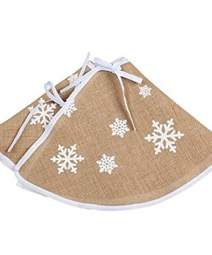 OurWarm Christmas Tree Skirt 30 Inch Burlap Tree Skirt White Snowflake Printed Christmas Decorations New Year Party Supply 0 4 300x360