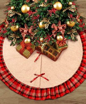 OurWarm Linen Burlap Christmas Tree Skirt Red Black Plaid Ruffle Edge Border Large 48 Inches Round Indoor Outdoor Mat Xmas Party Holiday Decorations 0 0 300x360