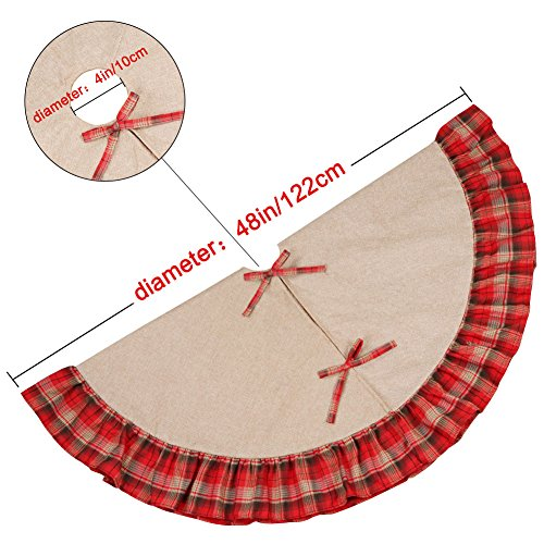 OurWarm Linen Burlap Christmas Tree Skirt Red Black Plaid Ruffle Edge Border Large 48 Inches Round Indoor Outdoor Mat Xmas Party Holiday Decorations 0 1