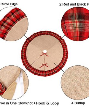 OurWarm Linen Burlap Christmas Tree Skirt Red Black Plaid Ruffle Edge Border Large 48 Inches Round Indoor Outdoor Mat Xmas Party Holiday Decorations 0 2 300x360