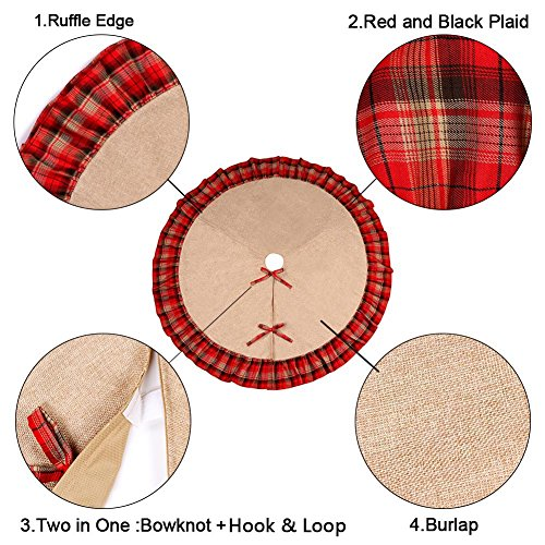 OurWarm Linen Burlap Christmas Tree Skirt Red Black Plaid Ruffle Edge Border Large 48 Inches Round Indoor Outdoor Mat Xmas Party Holiday Decorations 0 2