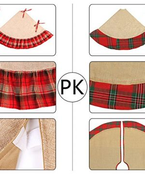 OurWarm Linen Burlap Christmas Tree Skirt Red Black Plaid Ruffle Edge Border Large 48 Inches Round Indoor Outdoor Mat Xmas Party Holiday Decorations 0 3 300x360