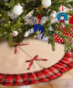 OurWarm Linen Burlap Christmas Tree Skirt Red Black Plaid Ruffle Edge Border Large 48 Inches Round Indoor Outdoor Mat Xmas Party Holiday Decorations 0 300x360