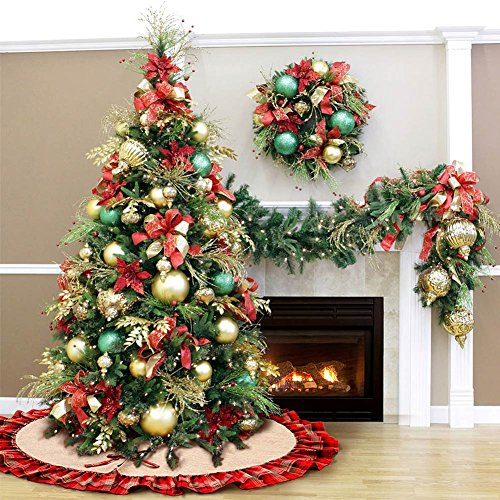 OurWarm Linen Burlap Christmas Tree Skirt Red Black Plaid Ruffle Edge Border Large 48 Inches Round Indoor Outdoor Mat Xmas Party Holiday Decorations 0 5