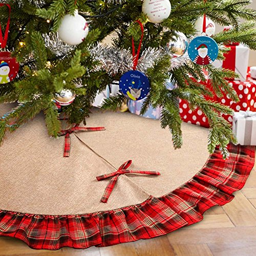 OurWarm Linen Burlap Christmas Tree Skirt Red Black Plaid Ruffle Edge Border Large 48 Inches Round Indoor Outdoor Mat Xmas Party Holiday Decorations 0