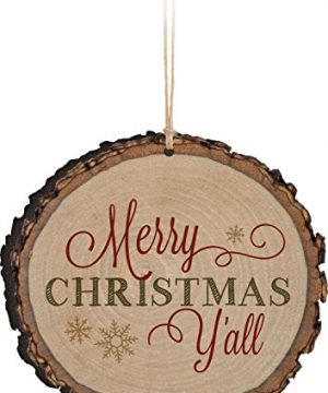 P GRAHAM DUNN Merry Christmas Yall Snowflakes Rustic Bark Look Wood Christmas Ornament 0 300x360