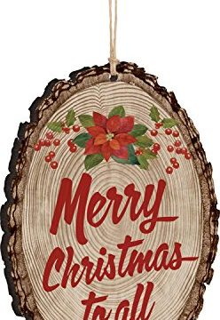 P GRAHAM DUNN Merry Christmas To All Poinsetta Holly Rustic Bark Look Wood Christmas Ornament 0 248x360