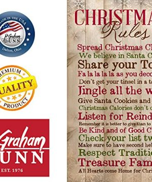 P Graham Dunn Christmas Rules Family Cheer Snowflakes 15 X 9 Inch Pine Wood Plank Wall Sign Plaque 0 0 300x360