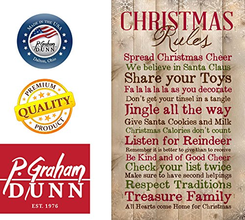 P Graham Dunn Christmas Rules Family Cheer Snowflakes 15 X 9 Inch Pine Wood Plank Wall Sign Plaque 0 0
