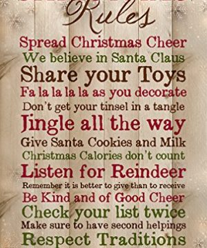 P Graham Dunn Christmas Rules Family Cheer Snowflakes 15 X 9 Inch Pine Wood Plank Wall Sign Plaque 0 300x360