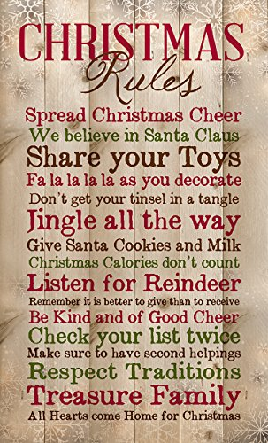 P Graham Dunn Christmas Rules Family Cheer Snowflakes 15 X 9 Inch Pine Wood Plank Wall Sign Plaque 0