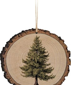 P Graham Dunn Evergreen Tree Sketch Rustic Bark Look Wood Christmas Ornament 0 300x360