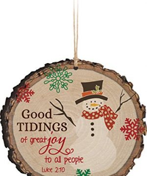 P Graham Dunn Good Tidings Of Great Joy Snowman Wood Tree Bark 4 Inch Christmas Tree Ornament 0 300x360