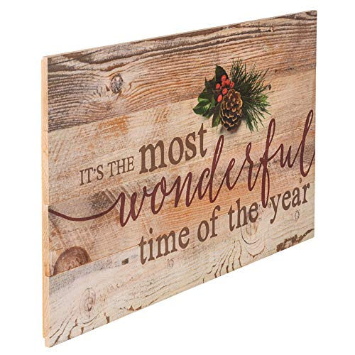 P Graham Dunn Its The Most Wonderful Time Of Year Christmas Holly 14 X 24 Wood Pallet Wall Art Sign Plaque 0 1