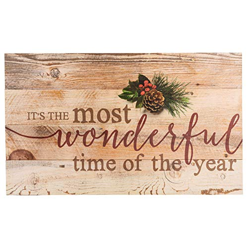 P Graham Dunn Its The Most Wonderful Time Of Year Christmas Holly 14 X 24 Wood Pallet Wall Art Sign Plaque 0