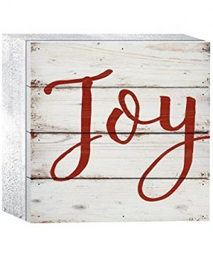 P-Graham-Dunn-Joy-Red-Script-Whitewash-6-x-6-Wood-Christmas-Tabletop-Boxed-Pallet-Sign-0