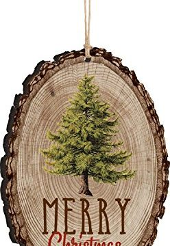 P Graham Dunn Merry Christmas Evergreen Tree Rustic Bark Look Wood Christmas Ornament 0 248x360