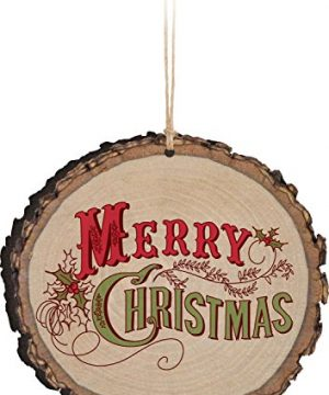 P Graham Dunn Merry Christmas Holly Vintage Design Rustic Bark Look Wood Christmas Ornament 0 300x360
