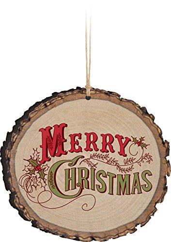 P Graham Dunn Merry Christmas Holly Vintage Design Rustic Bark Look Wood Christmas Ornament 0