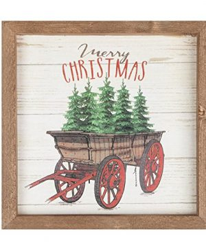 P Graham Dunn Merry Christmas Trees Wagon 11 X 11 Christmas Farmhouse Frame Wall Plaque 0 300x360