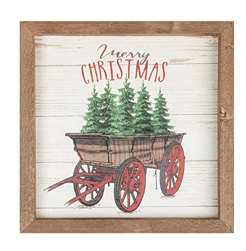 P Graham Dunn Merry Christmas Trees Wagon 11 X 11 Christmas Farmhouse Frame Wall Plaque 0