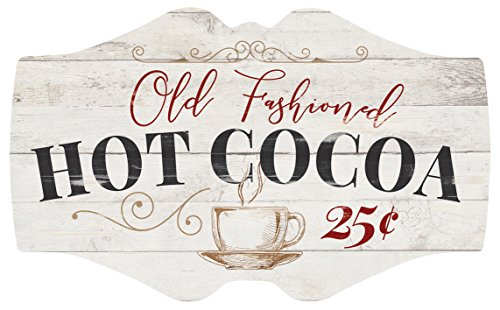 P Graham Dunn Old Fashioned Hot Cocoa Whitewash 18 X 11 Wood Christmas Wall Plaque Sign 0