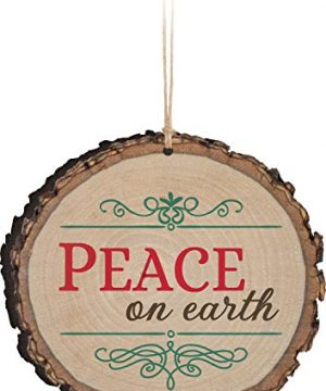 P Graham Dunn Peace On Earth Rustic Bark Look Wood Christmas Ornament 0 300x360