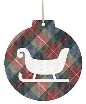 P Graham Dunn Santa Sleigh Buffalo Plaid 3 X 3 Printed Overlay Wood Hanging Christmas Ornament 0 300x360