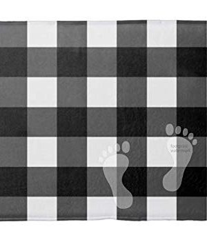 PPSholder Bathroom Mat Absorbent Bathroom Rug 18 Inches X 30 Inches Wide Plush Bathroom Anti Slip Carpet Decorative Mat Indoor RugBlack And White Buffalo Check Bath Mat 0 300x351