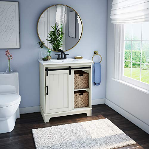 Pamari Cara 30 Single Bathroom Vanity With Sliding Barn Door And White Sink