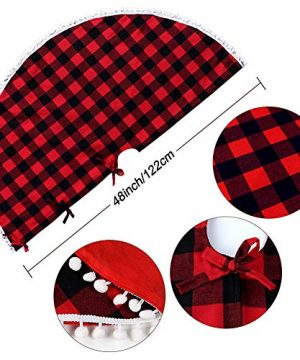PartyTalk 48 Inch Christmas Tree Skirt Red And Black Buffalo Plaid Tree Skirt With Pom Pom Trim For Holiday Christmas Decorations Double Layers Xmas Tree Skirt 0 0 300x360