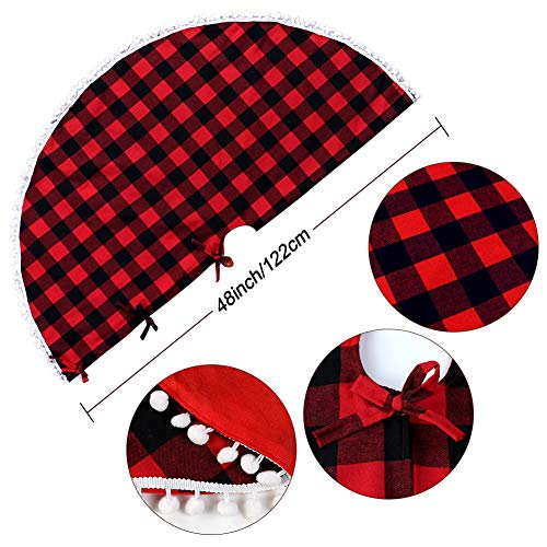 PartyTalk 48 Inch Christmas Tree Skirt Red And Black Buffalo Plaid Tree Skirt With Pom Pom Trim For Holiday Christmas Decorations Double Layers Xmas Tree Skirt 0 0