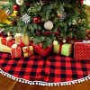 PartyTalk 48 Inch Christmas Tree Skirt Red And Black Buffalo Plaid Tree Skirt With Pom Pom Trim For Holiday Christmas Decorations Double Layers Xmas Tree Skirt 0 100x100