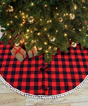 PartyTalk 48 Inch Christmas Tree Skirt Red And Black Buffalo Plaid Tree Skirt With Pom Pom Trim For Holiday Christmas Decorations Double Layers Xmas Tree Skirt 0 2 300x360