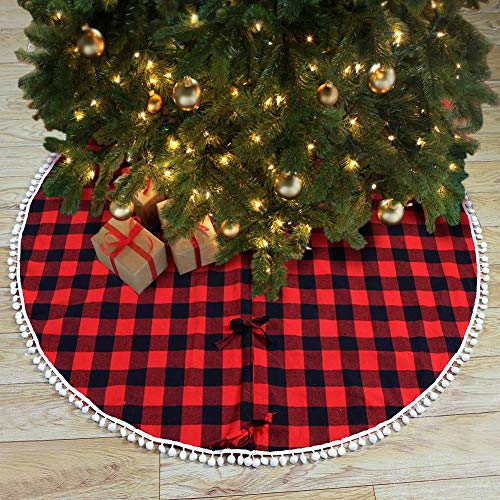 PartyTalk 48 Inch Christmas Tree Skirt Red And Black Buffalo Plaid Tree Skirt With Pom Pom Trim For Holiday Christmas Decorations Double Layers Xmas Tree Skirt 0 2