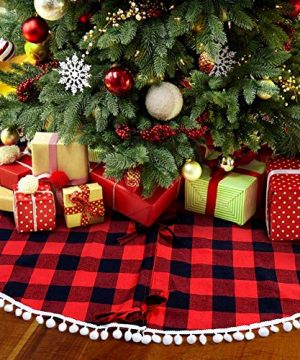 PartyTalk 48 Inch Christmas Tree Skirt Red And Black Buffalo Plaid Tree Skirt With Pom Pom Trim For Holiday Christmas Decorations Double Layers Xmas Tree Skirt 0 300x360