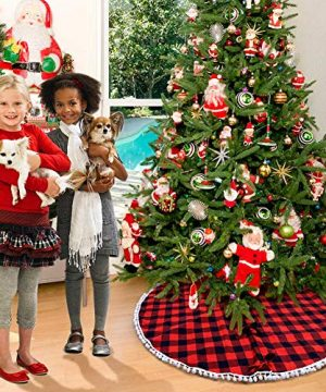 PartyTalk 48 Inch Christmas Tree Skirt Red And Black Buffalo Plaid Tree Skirt With Pom Pom Trim For Holiday Christmas Decorations Double Layers Xmas Tree Skirt 0 5 300x360