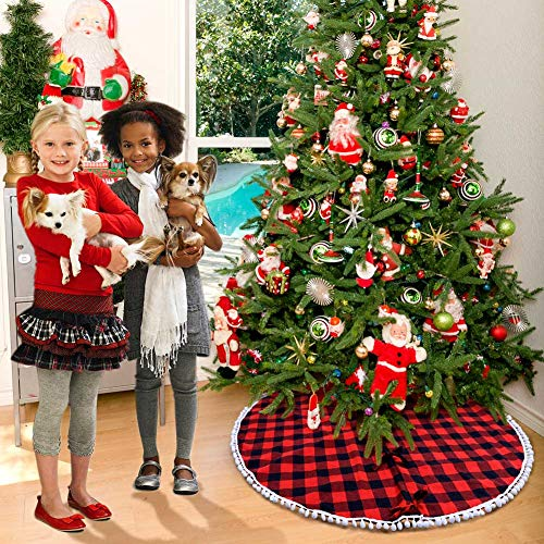 PartyTalk 48 Inch Christmas Tree Skirt Red And Black Buffalo Plaid Tree Skirt With Pom Pom Trim For Holiday Christmas Decorations Double Layers Xmas Tree Skirt 0 5
